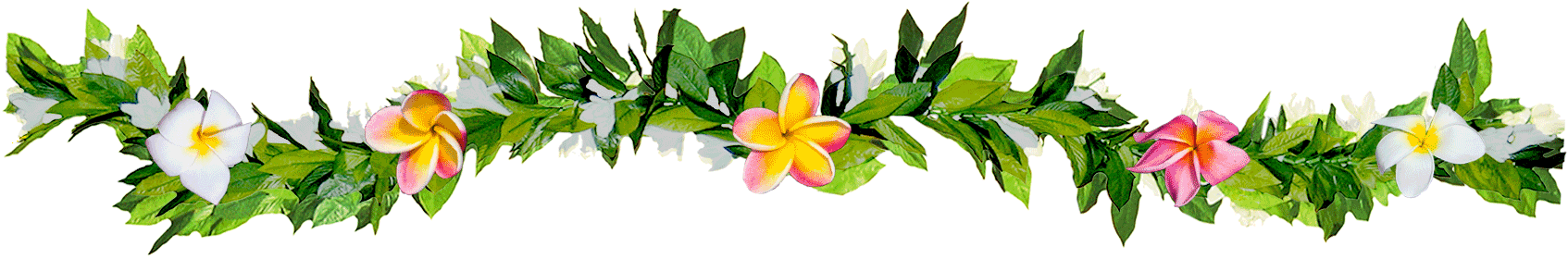 Decorative plumeria lei with green leaves and pink and yellow flowers.