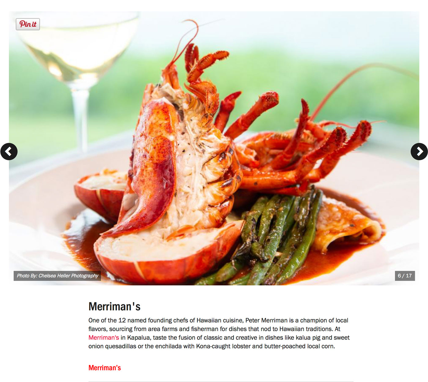 "Screenshot from Food Network's Guide to:<br><a href=""https://www.foodnetwork.com/restaurants/photos/restaurant-guide-maui"" target=""_blank"" rel=""noopener noreferrer"">""The Best Restaurants on Maui""</a> - Merrimans.</br>"